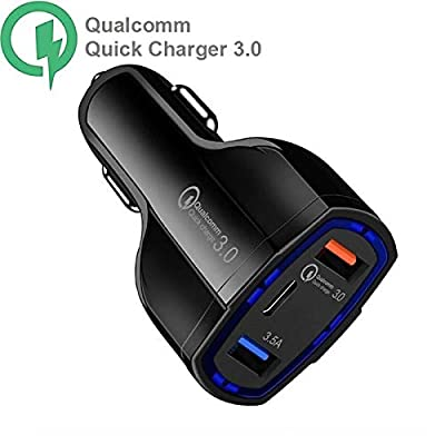 TechMax® Car Charger Quick Charger 3.0 Dual USB Port Portable with Type C Car Charger 3.5A Adapter for Phone XS/Max/XR/X/8/7/6/Plus, Galaxy S10 S9 S8 Plus, iPad Pro/Air/Mini and More