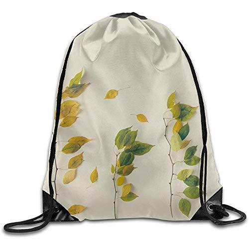 RJ Unique Drawstring Backpack,Kreativer Plan Von Buntem Autumn Leaves Flat Lay Season Concept Drawstring Bags