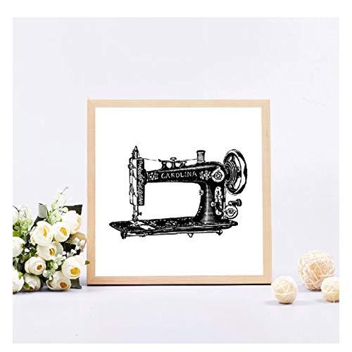 OPBGM Impresión de Costura Imagen de Arte de Pared de Moda Decoración de la Pared de la habitación Máquina de Coser de Moda Póster Modelo Maniquí Pintura de Lienzo-20X20 Pulgadas Sin Marco
