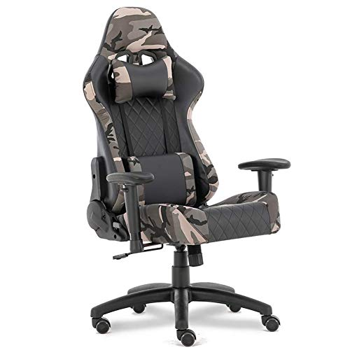 Military Style Chair Camouflage Gaming Chairs Office Chair High Back PU Leather Chair Ergonomic Chair Adjustable 3D Armrest Swivel Task Chair with Headrest and Lumbar Support Camo