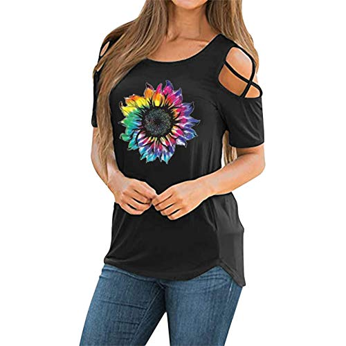 ReooLy Women Off Shoulder Blouse Casual Printing Shirts Short Sleeve Baggy Elegant t-Shirt Tunic Appointment Tee Tops(D-Black,XX-Large)
