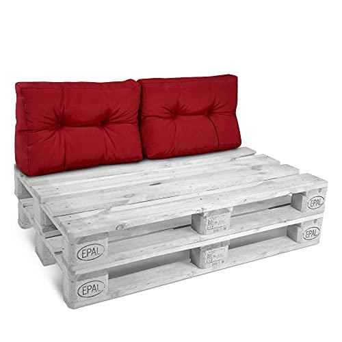 Beautissu Style Palettenkissen Premium Rückenkissen 2er Set 60x40x10-20 cm – Rückenlehne 2-TLG für Europaletten Palettenmöbel - Indoor & Outdoor Palettenpolster in Rot
