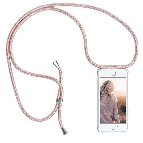 YuhooTech Handykette Kompatibel mit iPhone 5 / 5S / SE, Smartphone Necklace Hülle mit Band - Handyhülle mit Kordel Umhängenband - Schnur mit Case zum umhängen in Rose Gold