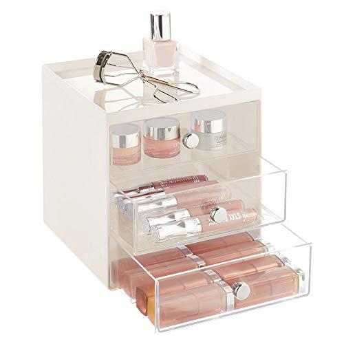 mDesign Organizador de maquillaje – Caja de almacenamiento apilable con 3 cajones para rímel, polvos, pintaúñas, etc. – Organizador de cosméticos para baño, tocador o despacho – beige y transparente