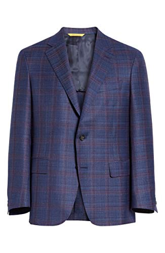 Canali Men's Sienna Soft Classic Fit Plaid Silk & Wool Sport Coat, Size 48 US / 58 EU R - Brown