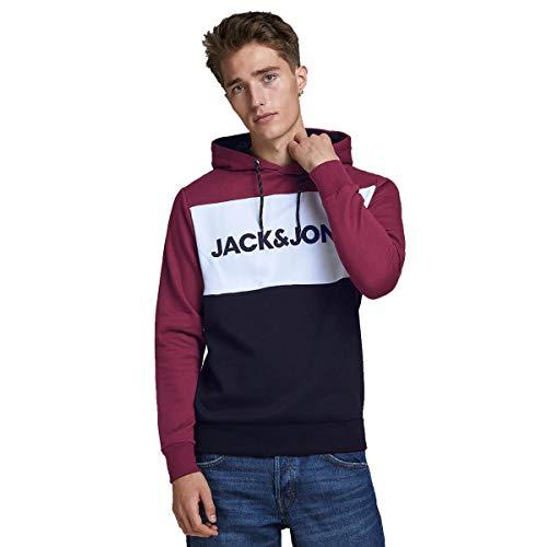 JACK & JONES JJELOGO Blocking Sweat Hood STS Sweatshirt Capuche, Bordeaux/Noir/Blanc, M Homme
