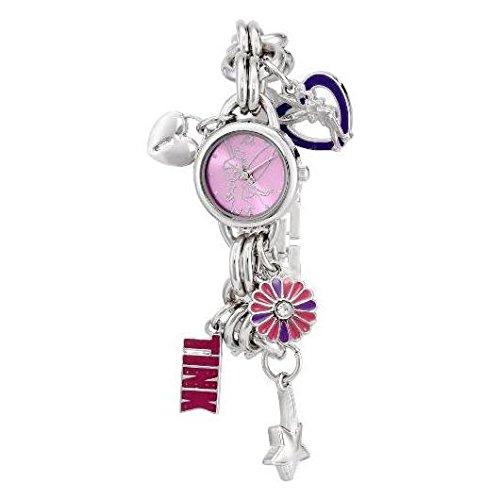 Disney Women's TK2022 Tinkerbell Pink Sunray Dial Charm Bracelet Watch