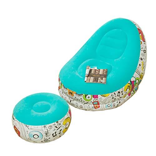 ZhiCheng Aufblasbarer Sofa Liegestuhl Neues Aufblasbares Graffiti-Sofa Modernes Einfaches Aufblasbares Faules Sofa Mit Pedal Kombination Zum Senden Eines Aufblasbaren Rohrs