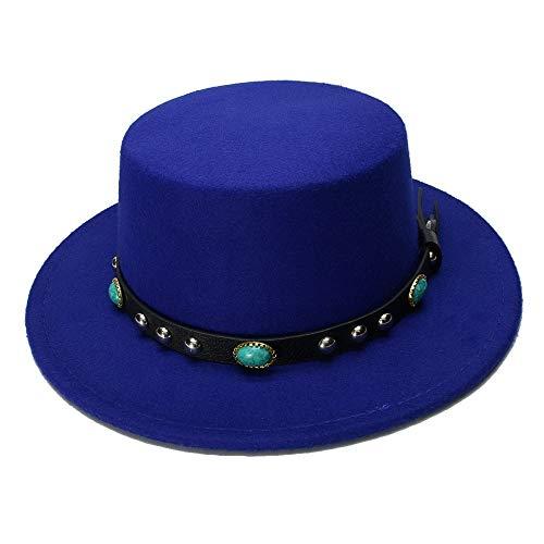 Chlyuan Chlyuan Panama-Fedora-Cap mit breiter Krempe Frauen breiter Krempe Melone Trilby Fedora-Hut für Frauen Ebene Flache Dame Felt Hats Vintage europäischen (Farbe : Blau, Größe : 57-58CM)