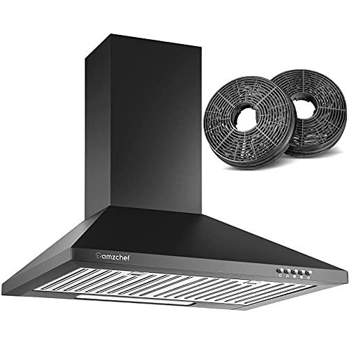 Campana extractora AMZCHEF Campana de pared decorativa 60cm para circulación y salida de aire 362 m³ / h 3 niveles de potencia acero inoxidable super silencioso [clase energética B] (negro)