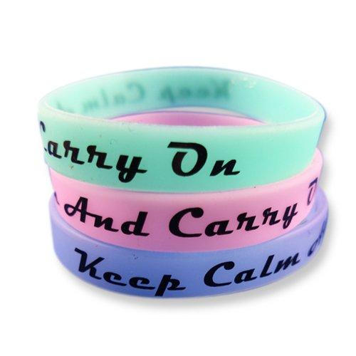 Juego de 3pulseras de fitness con frases a elegir–Pulseras de silicona en azul, verde, rosa– Pulseras de EKNA que brillan en la oscuridad.