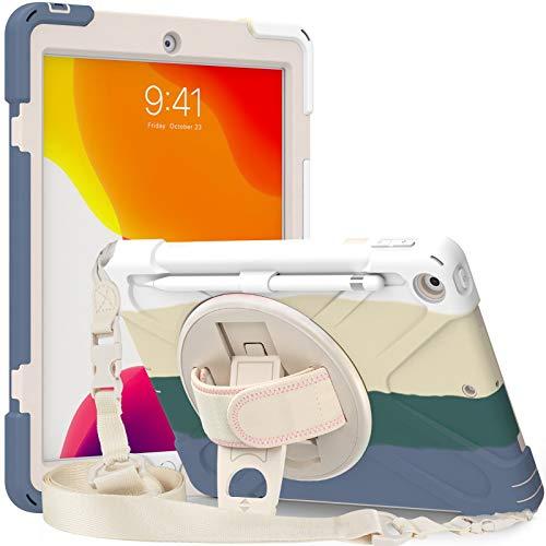 Funda para iPad 10.2 2020/2019 con soporte giratorio de 360°, funda de cuerpo completo con correa para el hombro para niños, color verde