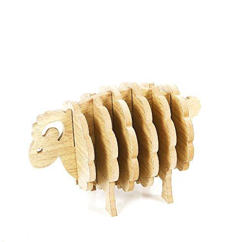 Floratek Lot de 6 dessous de verre en bois avec support pour boissons, motif mouton 3D