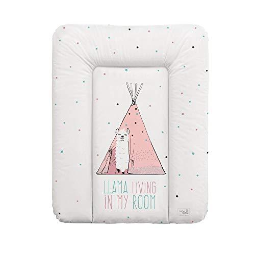 Ceba Baby Weiche Wickelauflage Wickelunterlage Wickeltischauflage 70 x 50 cm Abwaschbar für Mädchen und Junge - Lolly Polly Lama 70x50