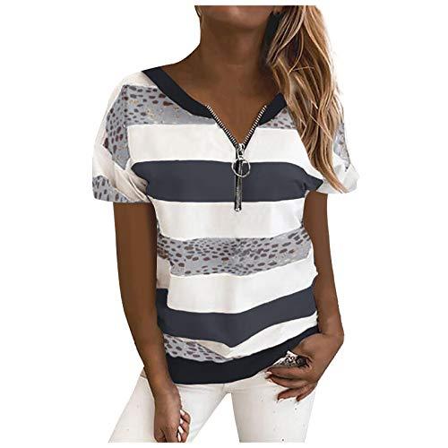 T-Shirt Damen Sommer Oberteile Kurzarm Tee Tops T-Shirt Bluse Pullover Frauen gestreifte Leoparden Nähte Reißverschluss Kurzarm Tops (L,1dunkelgrau)