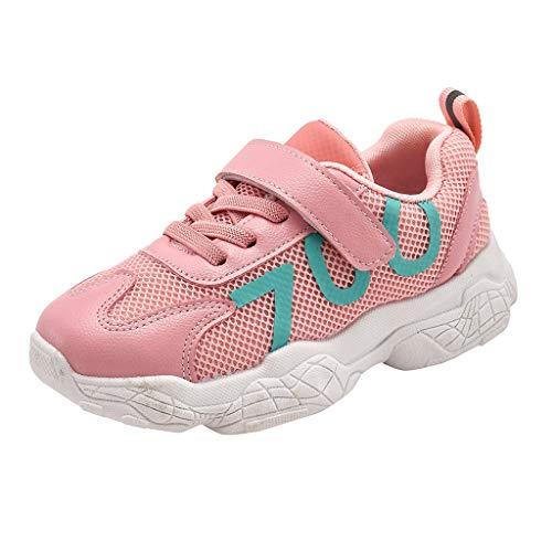 YWLINK Zapatillas De Deporte NiñOs-Antideslizante-Fondo Suave Malla Zapatos Casuales Pisos CóModos Adecuado para Correr/Andar En Bicicleta/Deportes Al Aire Libre-Zapatos De NiñO Colegio(Rosado,28EU)