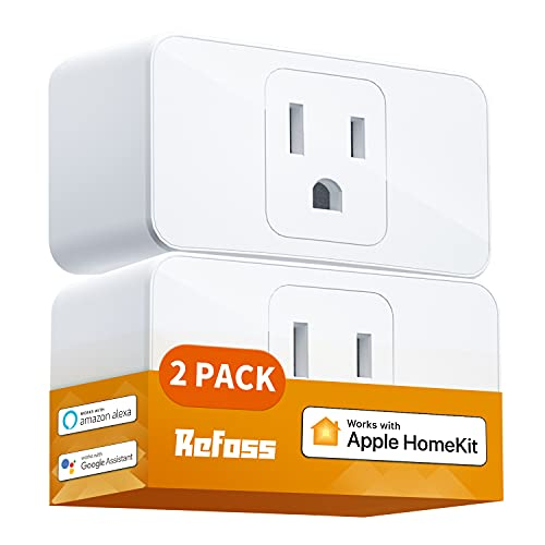 Smart Plug WiFi Outlet Work with Apple HomeKit, Siri, Alexa, Google Home, Refoss Smart Socket with Timer Function, Remote Control, No Hub Required, 15A, 2 Pack