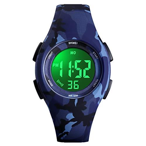 Digital Armbanduhr für Kinder Jungen - 5 ATM Wasserdicht Sports Outdoor Digitaluhr Kinder Silikon Uhren mit Wecker/Stoppuhr/LED-Licht/Stoßfest/Datum,Elektronische Kinderuhr Blau