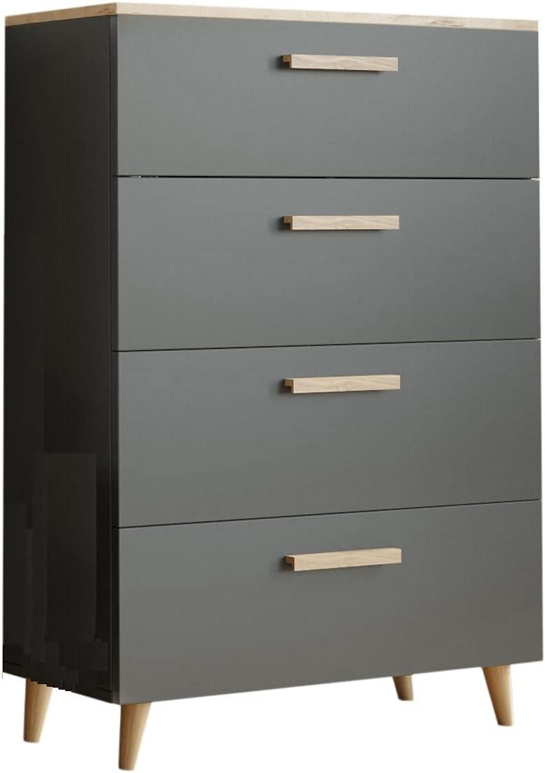 MATKAM Schubladen-Kommode Oslo in moderner Optik, B80 x H112 x T40 cm, 4 Schubfächer mit Holzgriffen (Anthrazit-Artisan Eiche)