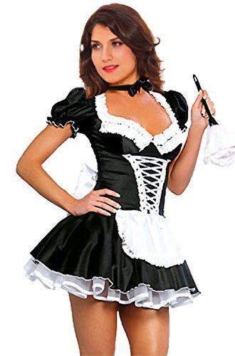 Women's French Maid Costume Sexy Black Satin Halloween Fancy Dress (5XL)