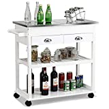 Giantex Kitchen Trolley Cart Rolling Island Cart w/Stainless Steel Flip Top Cutting Table 2 Drawers 2 Shelves Multipurpose Storage Cart Microwave Cart with Towel Rack and Casters (White)