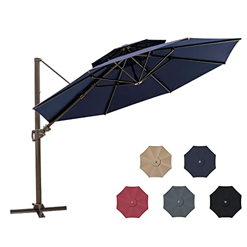 Pellebant 11.5 Ft Outdoor Round Cantilever Umbrella with Double Top, Patio Offset Hanging Umbrella with Crank Lift, Cross Base, 8 Alu. Ribs, 500h Fade-safe Canopy, 360 Degree Rotating, Navy Blue