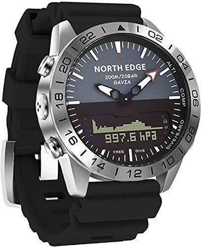 Reloj Inteligente de Buceo Deportes Business Reloj Inteligente con Hora Mundial Brújula Altitud Presión de Aire Luz de Fondo EL Impermeable 200M Fitness Tracker-Negro