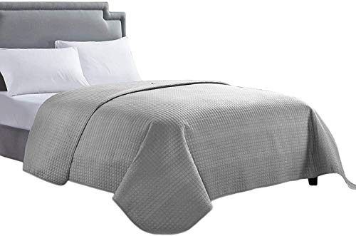 Affordable HollyHOME Luxury Checkered Super Soft Solid Single Pinsonic Bed Quilt Bedspread Bed Cover 102″x96″, Grey, King