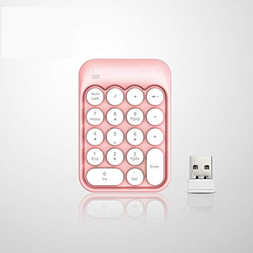 Rebily Desktop Bloc de Notas numérico del Teclado de Ordenador 2.4G Mini Teclado Contabilidad Financiera Cajero, 2.4G Teclado inalámbrico for Cajero Financiera (Color : Rosado)