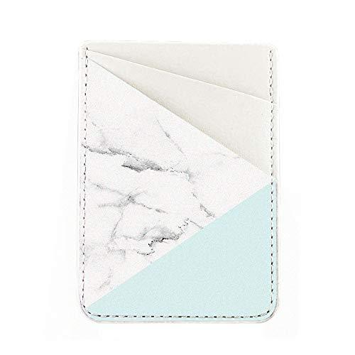 Obbii Tiffany Marmor PU Leder Kartenhalter für Rückseite des Telefons mit 3M Kleber Stick On Kreditkarte Brieftasche Taschen für iPhone und Android Smartphones