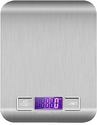 Bascula Digital Gramera 5 Kg en Acero Inoxidable para Cocina, Reposteria, Joyeria y Mas. Confiable, Durable y Resistente. Incluye Baterías