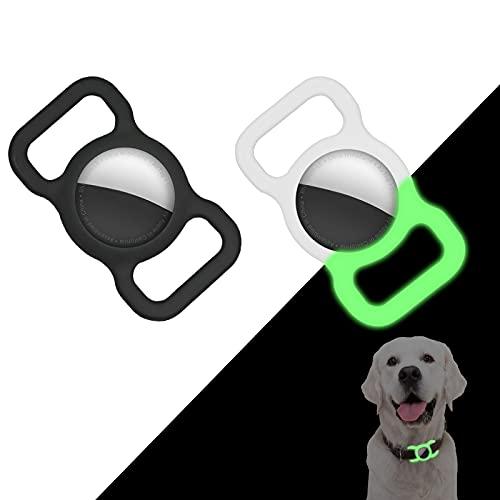 Supet Silikon Schutzhülle für AirTag, Halter kompatibel mit Airtag für Hund Katzenhalsband GPS Tracking Pet Collar Holder (2 Stück, Schwarz + Nachtgrün)