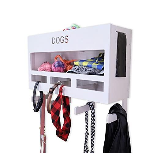 INEXTERIOR Hundegarderobe XXL - aus Holz - Handgefertigt in Deutschland - Mit großer Ablage und Kotbeutelspender - Garderobe für Hundeleinen (Grau)