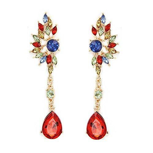 Vintage fiesta lámpara de araña pendientes rojo cristal Pearl Big imitado joyas