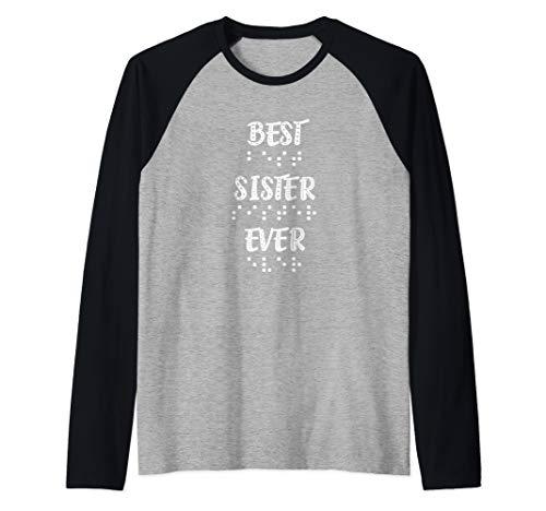 Best Sister Ever In Braille Dots Women Girls Raglan Baseball Tee