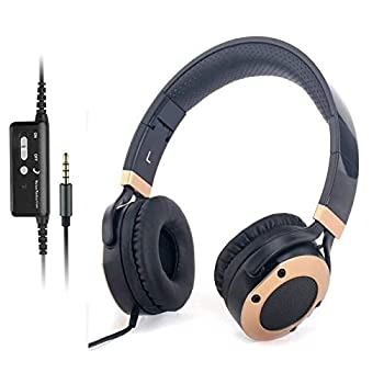 Active Noise Cancelling Headphones with Microphone and Airplane Adapter Folding and Lightweight Travel Headsets Hi-Fi Deep Bass Wired Headphones with Carrying Case