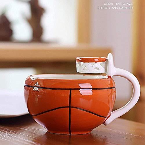 QMHN Taza de té de baloncesto con dibujos animados, taza de cerámica para café y desayuno, recipiente de café para la oficina en casa, cocina divertida y familiar