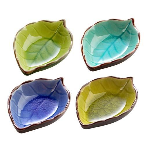 Cabilock 4 Stück Keramiksauce Gerichte Mini Blattform Gewürzgerichte Sushi Tauchschale Untertassen Schüssel Vorspeisen Teller (Zufälliges Muster)