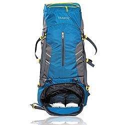 TRAWOC 65 L Travel Backpack for Hiking Trekking Bag Camping Rucksack MHK001 1 Year Warranty (SkyBlue),TRAWOC