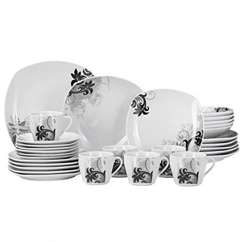 Van Well 30-tlg. Kombi-Geschirr Black Flower für 6 Personen | Tafel-Service + Kaffee-Set | modernes Dekor | abstrakt | edles Hotel-Porzellan | Gastro
