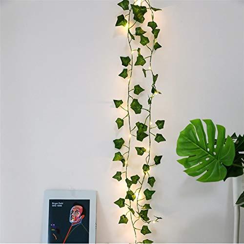 Christmas Lights 2M Artificial Plants Led String Light Creeper Green Leaf Ivy Vine for Home Wedding Decor Lamp DIY Hanging Garden Yard Lighting (Emitting Color : Warm White)