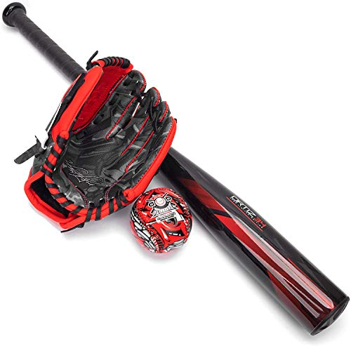 Ortiz34 Homerun Kids Tee Ball Set- David Ortiz 3-in-1 Aluminum Baseball Bat, Baseball, & Youth Baseball Glove Bundle (Made for Youth/Kids) (Red)