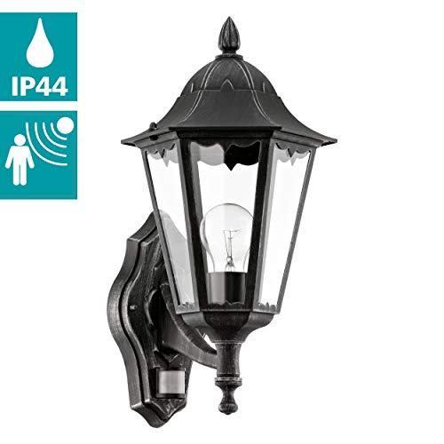 EGLO Außen-Wandlampe Navedo, 1 flammige Außenleuchte inkl. Bewegungsmelder, Sensor-Wandleuchte aus Aluguss und Glas, Farbe: Schwarz, silber-patina, Fassung: E27, IP44