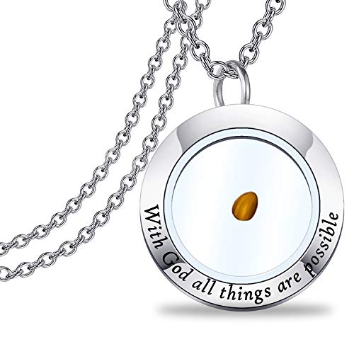 BAUNA Bible Verse Necklace With God All Things Are Possible Scripture Necklace Christian Necklace Church Friend Gift (God necklace)