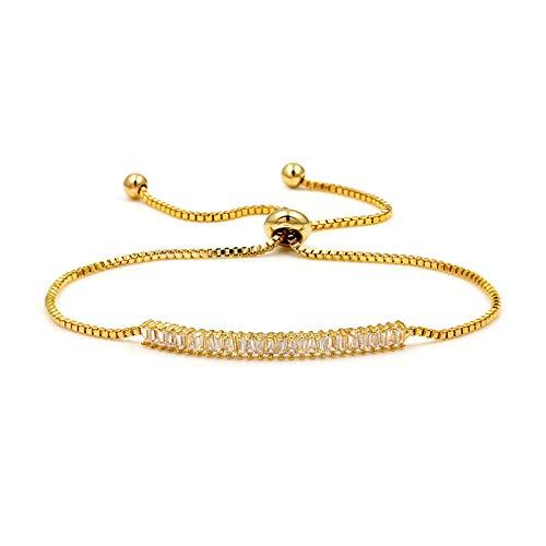 N A Bijoux Bracelet Bracelets de Barre de Traction réglables en Cristal de zircone cubique pour Femmes en 3 Couleurs Cadeau d anniversaire de la Saint-Valentin