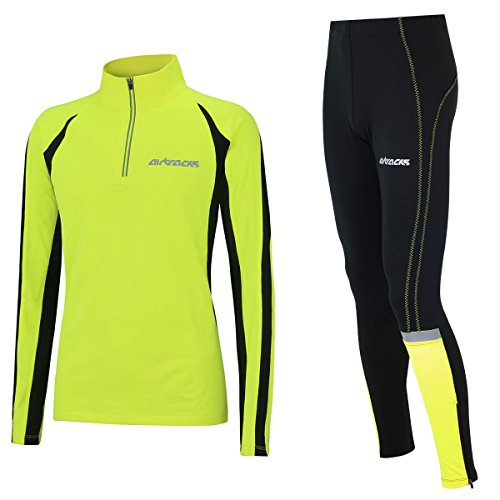 Airtracks Winter Funktions Laufset/Thermo Laufhose Lang Neon + Thermo Laufshirt Langarm Pro - L - Herren