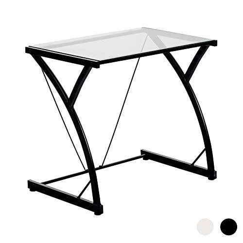 Schreibtisch für Laptop/Computer mit Glasplatte- Schwarz
