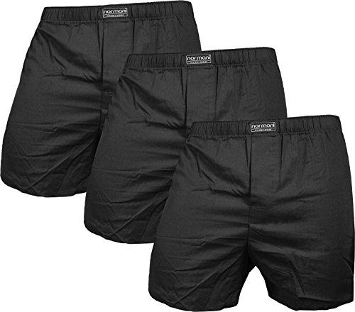 normani 3 x Herren Web Boxershorts aus Reiner Baumwolle Farbe Schwarz Größe M
