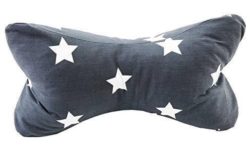 Biona Lesekissen/Leseknochen/Knochenkissen 35x18 cm + Ökotex (Baumwolle Sterne grau, mit Inlett)