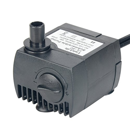 Uniclife 80 GPH Submersible Water Pump UL80 with 6ft Power Cord for Fountain Aquarium Pond Fish Tank Hydroponic